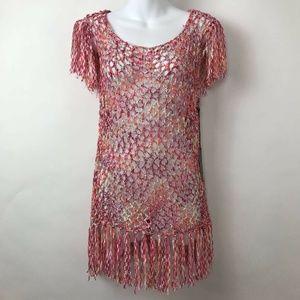 BCBG Max Azria Pink Orange Marled Crochet Top Sz S